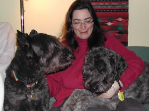 Jersey, me, and Gadget when Jersey was newly retired and Gadget was newly a full-fledged service dog