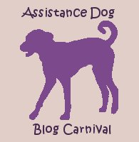 Assistance Dog Blog Carnival graphic. A square graphic, with a lavender background. A leggy purple dog of unidentifiable breed, with floppy ears and a curly tail, in silhouette, is in the center. Words are in dark blue, a font that looks like it's dancing a bit.