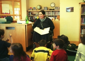 Gadget Watches Sharon Read Poetry to Elementary School Kids