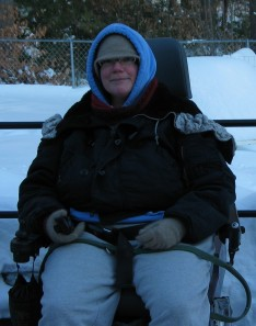 Sharon bundled up for a walk in the snow