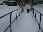 Barnum at the very end of the snow-covered ramp, running