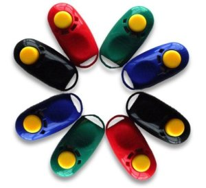 Circle of red, geen, blue, and black i-Clicks. These are oval-shaped clickers with a yellow button sticking out at one end, and a thin molded plastic loop at the other end. There is an indentation below the button to rest your thumb between clicks.