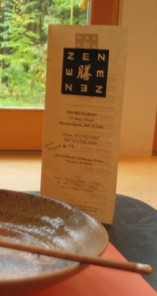 Closeup of the menu for Zen restaurant
