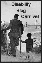 Disability Blog Carnival logo by Ryn, featuring a black-and-white photograph of a man and a boy. The man is in uniform and holding crutches; he is apparently an amputee; the boy is holding onto one of the crutches as a child might hold an adult's hand; the two are photographed from behind, and we see beyond them a seashore and a suspension.bridge
