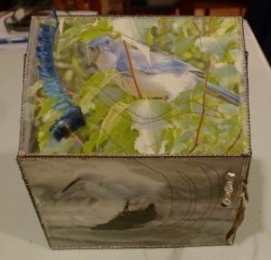 A fabric-covered box. The top shows a blue jay in a green leafy tree with a blue feather attached to it, and the side shows a gorgeous white ibis about to take off over stormy waters.