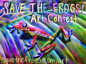 A psychedelic ad for the Save the Frogs! Art Contest. All the letters and the background and the frog are in super bright colors, mostly purples, greens, and yellows. At the bottom it says savethefrogs.com/art