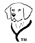 Outline sketch, black on white, of a dog's head and neck with a leash or harness draped around his shoulders. The profile is of a flop-eared dog like a Lab or Golden.