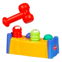"Plastic toy with four different colored ""bugs"" sticking out of a plastic ""bed."" A red plastic mallet hovers above the bugs. When one bug is hit down, another pops farther out."
