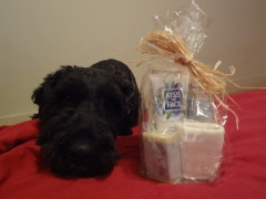 Cellophane bag with three bottles, folded cloth, soap, tied with straw ribbon. Barnum rests his chin on the bed next to the gift bag.