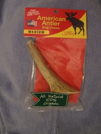 Piece of deer antler in its packaging.