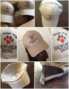 7 photos of the hats from all angles to show all the details. The center picture shows Guide Dog Jack, a chocolate Lab, modeling the hat.